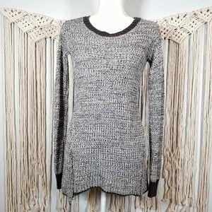 RUBY MOON Marled Gray Zipper Sweater Women's XS